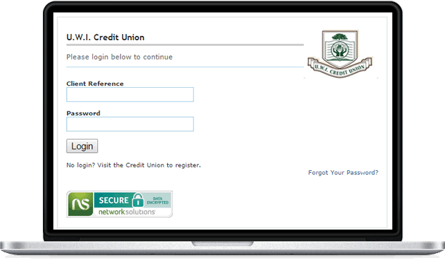 Laptop showing login screen for UWICU ebanking