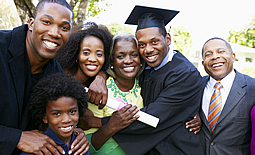 Family celebrating graduation